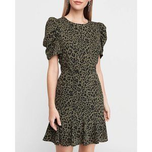 Leopard Print Puff Sleeve Fit And Flare Dress
